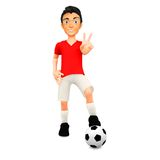 3D Football player Royalty Free Stock Photography