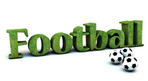 3d Football with soccer balls. 3D football with grass texture  and three soccer balls Royalty Free Stock Photo