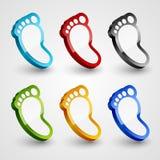 3d footprint collection. Stock Photos