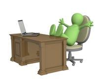 3d foots rzucającego kukła biurowego stół ilustracji