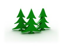 3d forest. 3d illustration of three christmas trees on white Stock Image