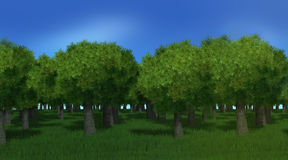 3D forest trees Stock Photography