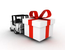 3d forklift. 3d rendered white forklift  isolated Royalty Free Stock Photos