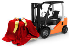 3d forklift with huge gift box Stock Photo