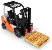 3d forklift with pallet Stock Photo
