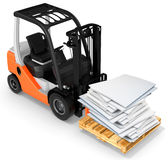 3d forklift with pallet and paper stack Stock Photos
