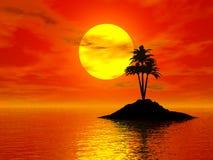 3d foto van de zonsondergang Stock Fotografie