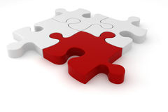 3d - four puzzle pieces. One red and three white Royalty Free Stock Photo