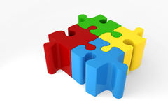 3d - four puzzle pieces. Red, gree, ywllow and blue Stock Photos