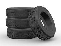 3d four tyres. 3d rendering of detail four tyres on white background Stock Images