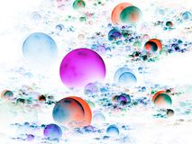 3d Fractal Abstract Background. Bright, multicolored bunches of 3d orbs (computer generated, fractal abstract background Royalty Free Stock Photo