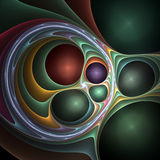 3d Fractal roundabout. 3d Abstract fractal image resembling metallic balls in twisted fabric Royalty Free Stock Photo