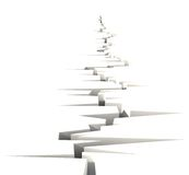3D Fracture perspective. 3D Perspective fracture goes to horizon isolated on white Royalty Free Stock Photo