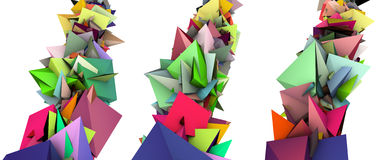 3d fragmented colored spiked shape Stock Photo