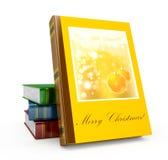 3d framför jul book på en vit bakgrund Arkivbild
