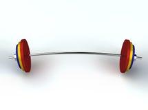 3d framför weightliftingvikter Royaltyfri Bild