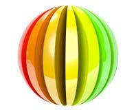3d färbte Kugelikone getrennt auf Weiß Stockfotografie