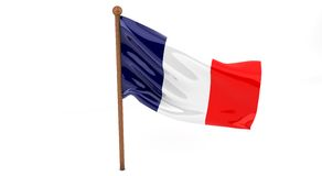 3D French flag. French  flag waving on white background. 3D image Stock Photo