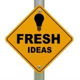 3d fresh ideas road sign. 3d Illustration of bulb and fresh ideas road sign Stock Images