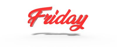 3D Friday Red White Background. Stock Photos