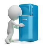 3d fridge małych retro ludzie Obraz Stock