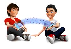 3D friends sharing music Royalty Free Stock Images