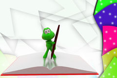 3d frog book and pen illustration Royalty Free Stock Photo
