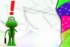 3d frog exclamation mark illustration Stock Photo