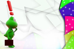 3d frog exclamation mark illustration Royalty Free Stock Photos