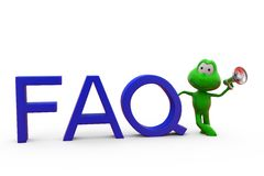3d frog FAQ concept Royalty Free Stock Image