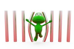 3d frog free from jail concept Stock Photos