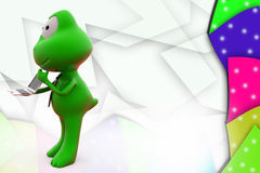 3d frog with laptop illustration Stock Photo