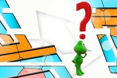 3d frog question mark illustration Stock Images
