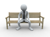 3d frustrated and sad man. 3d illustration of tired sad person sitting on a bench. 3d rendering of human businessman character Royalty Free Stock Images