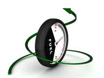 3D fuel meter with green arrow Stock Image