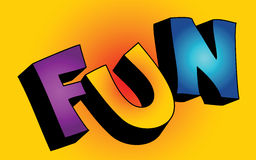 3D fun word. Colorful 3D cartoon text FUN on colorful background vector illustration