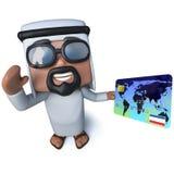 3d Funny cartoon arab sheik character holding a debit card Royalty Free Stock Photos