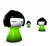 3d  funny green girl japanese doll type Stock Photo