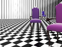 3d furniture. 3d purple furniture on the checker background Stock Photo