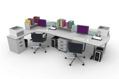 3d furniture office space Stock Image