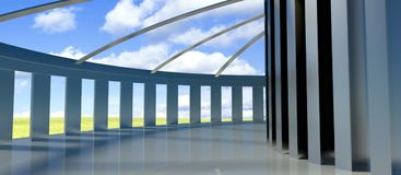 3d future architecture, corridor with columns. And landmark royalty free illustration