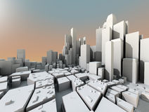3d futuristic city Stock Photography