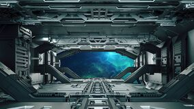 Free 3d Futuristic Space Facility Corridor Royalty Free Stock Images - 179948339