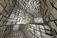 3d futuristic tiled mosaic labyrinth interior Royalty Free Stock Images