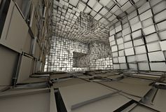 3d futuristic tiled mosaic labyrinth interior Stock Images