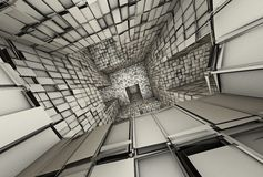 3d futuristic tiled mosaic labyrinth interior Stock Photography