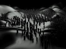 3d futuristisch cityscape abstract landschap Royalty-vrije Stock Foto's