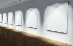 3d Gallery, Hall with Empty Frames Stock Photography