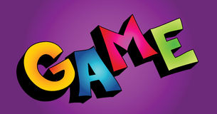 3D game word. Colorful 3D cartoon text GAME on colorful background stock illustration