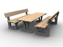 3d Garden Furniture. 3d image of garden furniture, wood and concreet royalty free illustration